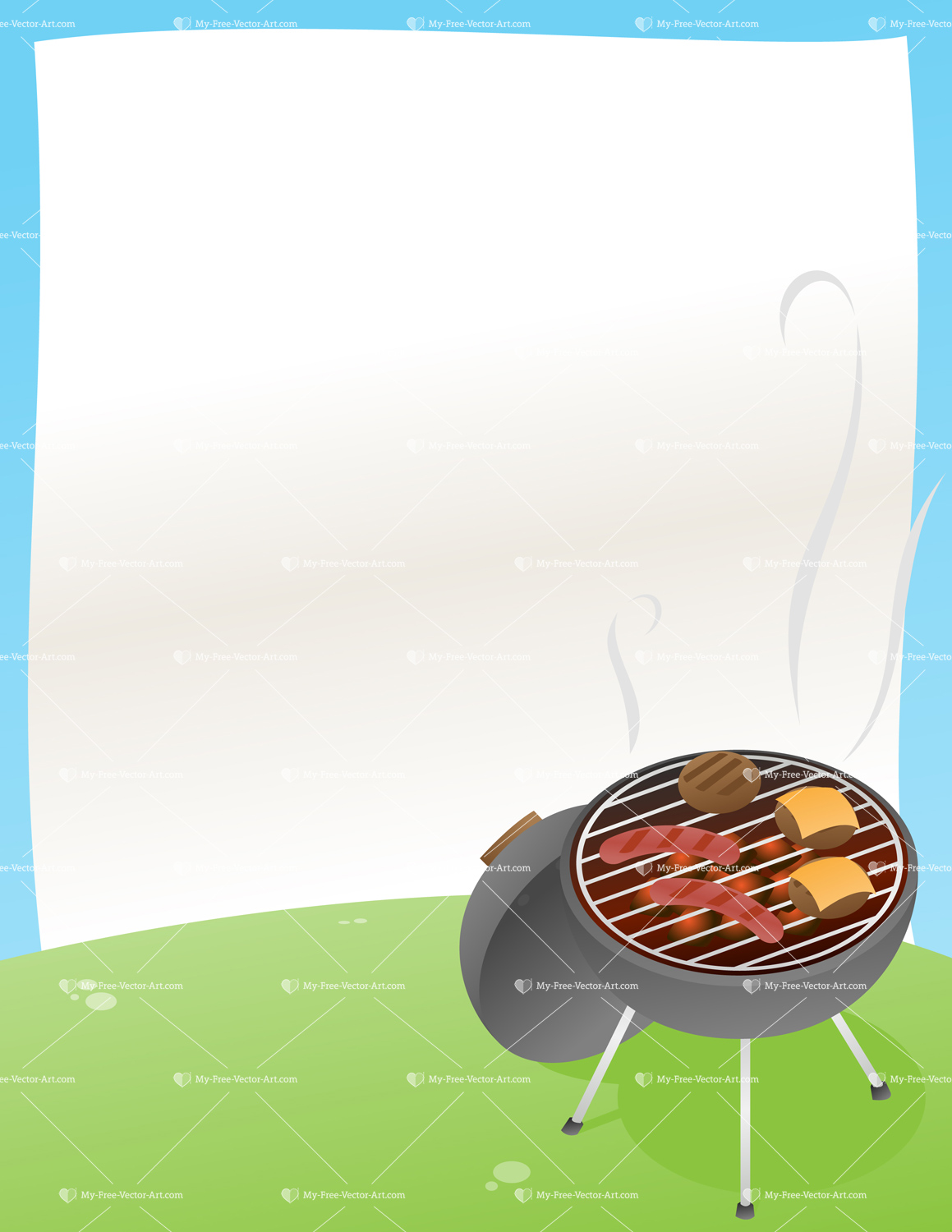 BBQ Announcement! — Vector illustration of a BBQ grill with a ...