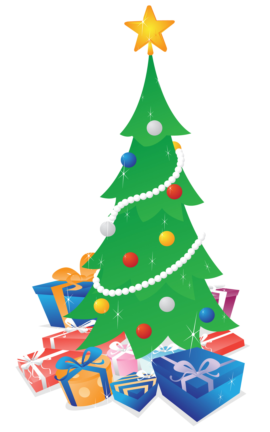 Christmas Tree with Presents — Vector illustration of a shimmering ...